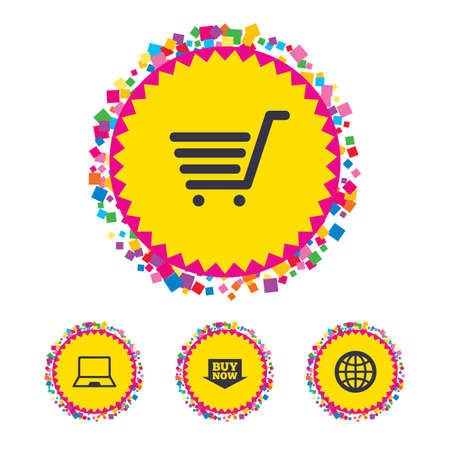 Web buttons with confetti pieces. Online shopping icons. Notebook pc, shopping cart, buy now arrow and internet signs. WWW globe symbol. Bright stylish design. Vector Illustration