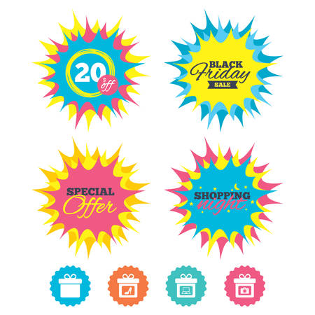 Shopping night, black friday stickers. Gift box sign icons. Present with bow symbols. Photo camera sign. Woman shoes. Special offer. Vector