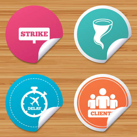 bad weather: Round stickers or website banners. Strike icon. Storm bad weather and group of people signs. Delayed flight symbol. Circle badges with bended corner. Vector Illustration