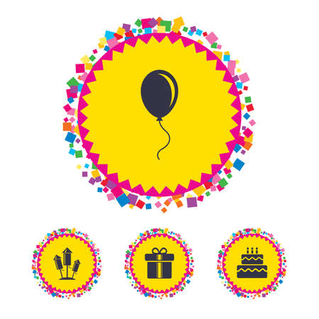 Web buttons with confetti pieces. Birthday party icons. Cake and gift box signs. Air balloons and fireworks rockets symbol. Bright stylish design. Vector