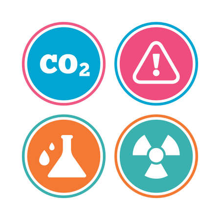 danger carbon dioxide  co2  labels: Attention and radiation icons. Chemistry flask sign. CO2 carbon dioxide symbol. Colored circle buttons. Vector