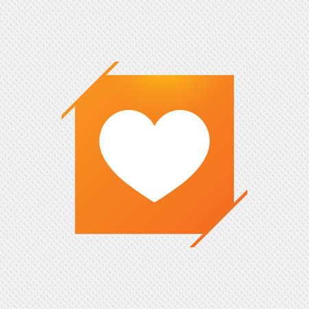 Love icon. Heart sign symbol. Orange square label on pattern. Vector Illustration