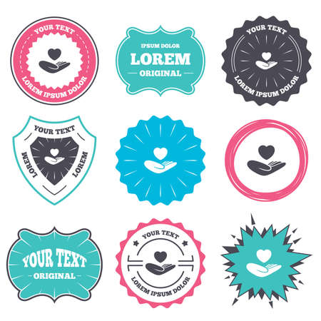 life style: Label and badge templates. Life insurance sign. Hand holds human heart symbol. Health insurance. Retro style banners, emblems. Vector Illustration