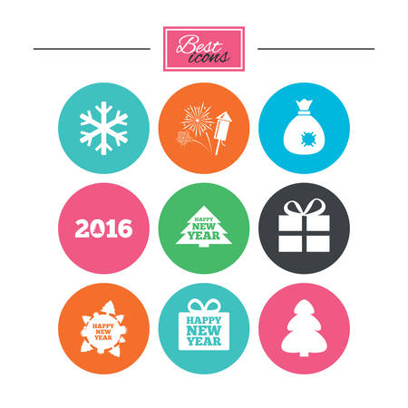 salut: Christmas, new year icons. Gift box, fireworks and snowflake signs. Santa bag, salut and rocket symbols. Colorful flat buttons with icons. Vector