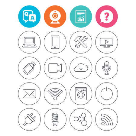 lamp outline: Devices and technologies icons. Notebook, smartphone and wi-fi symbols. Usb flash, video camera, microphone thin outline signs. Washing machine, fluorescent lamp and electric plug. Vector