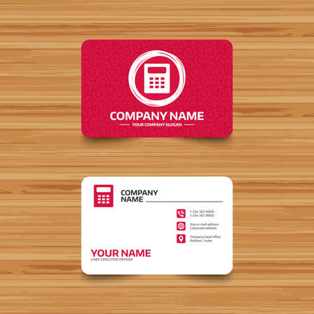 calc: Business card template with texture. Calculator sign icon. Bookkeeping symbol. Phone, web and location icons. Visiting card  Vector
