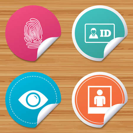 bended: Round stickers or website banners. Identity ID card badge icons. Eye and fingerprint symbols. Authentication signs. Photo frame with human person. Circle badges with bended corner. Vector Illustration
