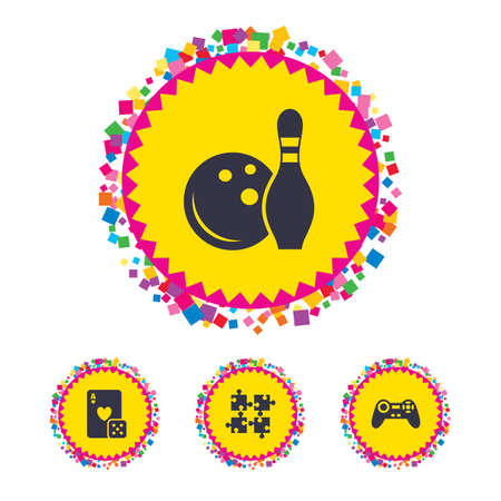 Web buttons with confetti pieces. Bowling and Casino icons. Video game joystick and playing card with puzzles pieces symbols. Entertainment signs. Bright stylish design. Vector