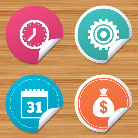 corner clock: Round stickers or website banners. Business icons. Calendar and mechanical clock signs. Dollar money bag and gear symbols. Circle badges with bended corner. Vector