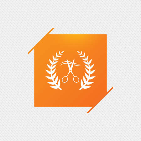 Scissors cut hair sign icon. Hairdresser or barbershop laurel wreath symbol. Winner award. Orange square label on pattern. Vector