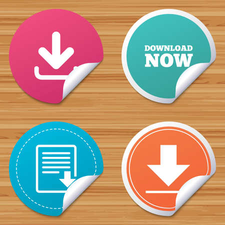 remote server: Round stickers or website banners. Download now icon. Upload file document symbol. Receive data from a remote storage signs. Circle badges with bended corner. Vector Illustration