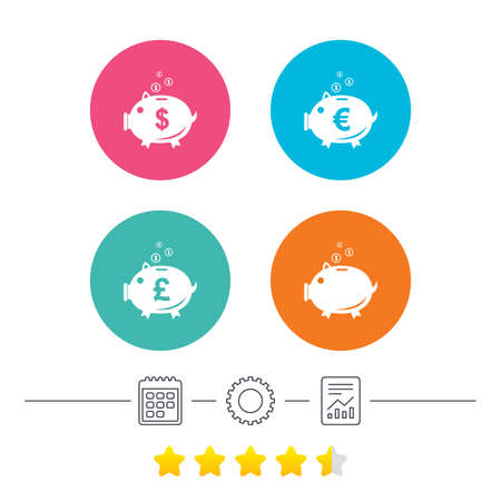 pound coin: Piggy bank icons. Dollar, Euro and Pound moneybox signs. Cash coin money symbols. Calendar, cogwheel and report linear icons. Star vote ranking. Vector