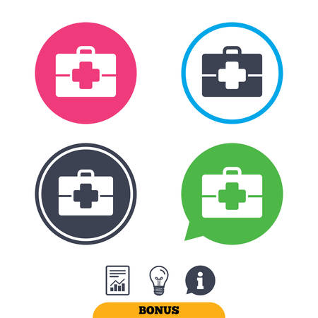 medical case: Medical case sign icon. Doctor symbol. Report document, information sign and light bulb icons. Vector