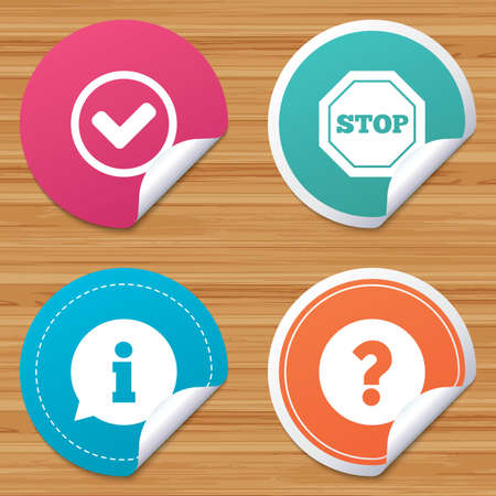 bended: Round stickers or website banners. Information icons. Stop prohibition and question FAQ mark signs. Approved check mark symbol. Circle badges with bended corner. Vector Illustration