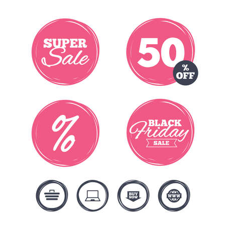 ultrabook: Super sale and black friday stickers. Online shopping icons. Notebook pc, shopping cart, buy now arrow and internet signs. WWW globe symbol. Shopping labels. Vector Illustration