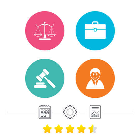 law report: Scales of Justice icon. Client or Lawyer symbol. Auction hammer sign. Law judge gavel. Court of law. Calendar, cogwheel and report linear icons. Star vote ranking. Vector Illustration