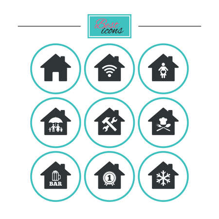 air hammer: Real estate icons. Home insurance, maternity hospital and wifi internet signs. Restaurant, service and air conditioning symbols. Round flat buttons with icons. Vector