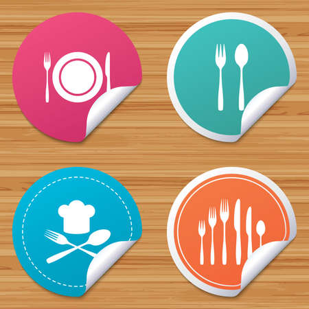 bended: Round stickers or website banners. Plate dish with forks and knifes icons. Chief hat sign. Crosswise cutlery symbol. Dessert fork. Circle badges with bended corner. Vector Illustration