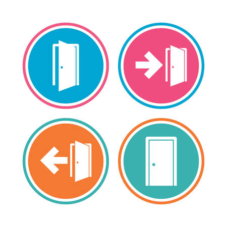 fire exit: Doors icons. Emergency exit with arrow symbols. Fire exit signs. Colored circle buttons. Vector Illustration