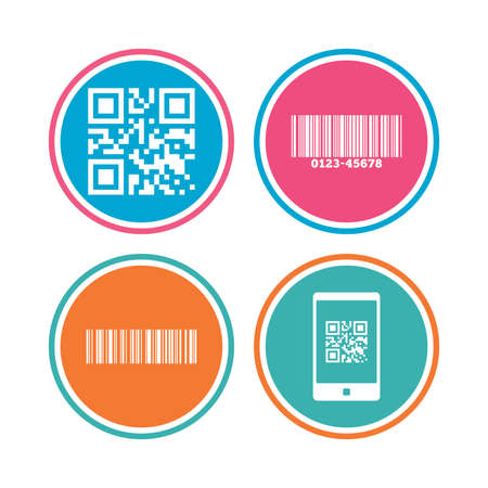 Bar and Qr code icons. Scan barcode in smartphone symbols. Colored circle buttons. Vector Illustration