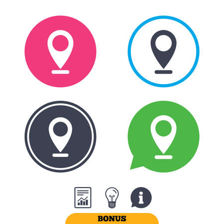 internet mark: Internet mark icon. Navigation pointer symbol. Position marker sign. Report document, information sign and light bulb icons. Vector