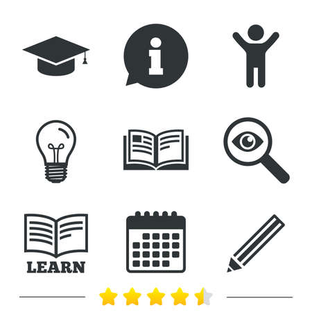 Pencil and open book icons. Graduation cap symbol. Higher education learn signs. Information, light bulb and calendar icons. Investigate magnifier. Vector Vectores