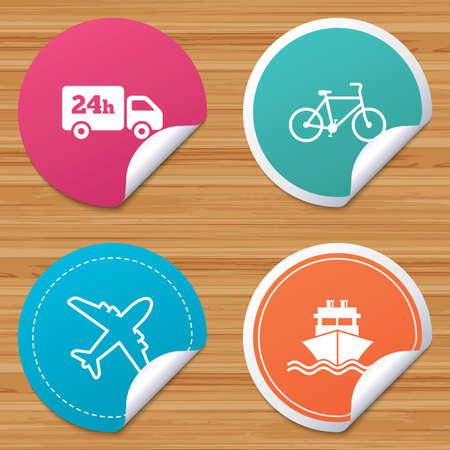 bended: Round stickers or website banners. Cargo truck and shipping icons. Shipping and eco bicycle delivery signs. Transport symbols. 24h service. Circle badges with bended corner. Vector