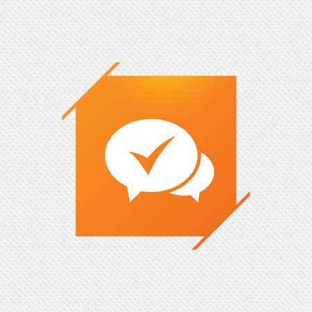Check sign icon. Yes or Tick symbol. Confirm. Orange square label on pattern. Vector Illustration