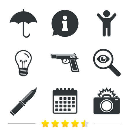 edged: Gun weapon icon.Knife, umbrella and photo camera with flash signs. Edged hunting equipment. Prohibition objects. Information, light bulb and calendar icons. Investigate magnifier. Vector