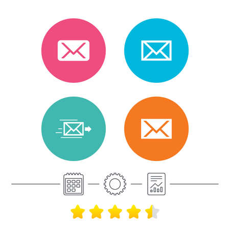 webmail: Mail envelope icons. Message delivery symbol. Post office letter signs. Calendar, cogwheel and report linear icons. Star vote ranking. Vector