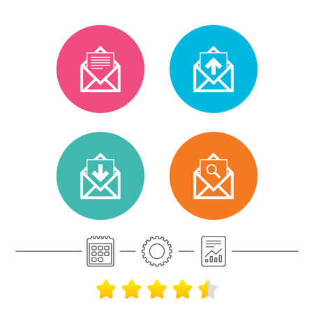 webmail: Mail envelope icons. Find message document symbol. Post office letter signs. Inbox and outbox message icons. Calendar, cogwheel and report linear icons. Star vote ranking. Vector Illustration