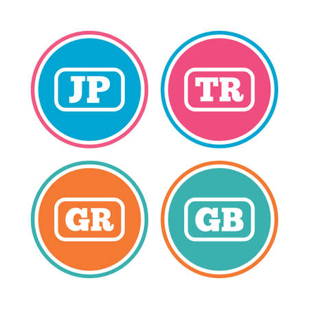 tr: Language icons. JP, TR, GR and GB translation symbols. Japan, Turkey, Greece and England languages. Colored circle buttons. Vector Illustration