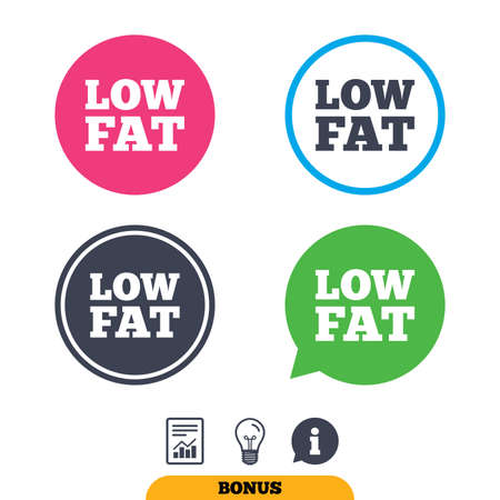 lowfat: Low fat sign icon. Salt, sugar food symbol. Report document, information sign and light bulb icons. Vector