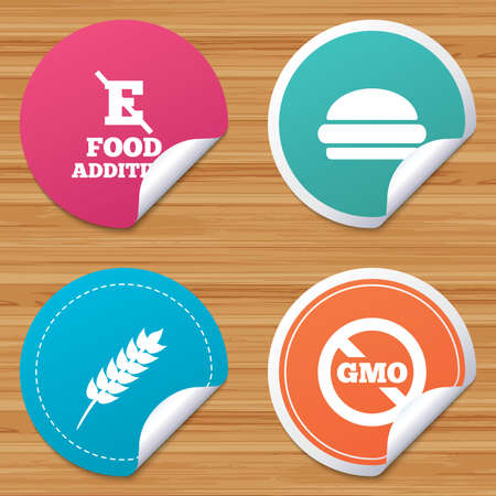 stabilizers: Round stickers or website banners. Food additive icon. Hamburger fast food sign. Gluten free and No GMO symbols. Without E acid stabilizers. Circle badges with bended corner. Vector