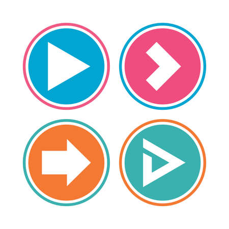arrowhead: Arrow icons. Next navigation arrowhead signs. Direction symbols. Colored circle buttons. Vector
