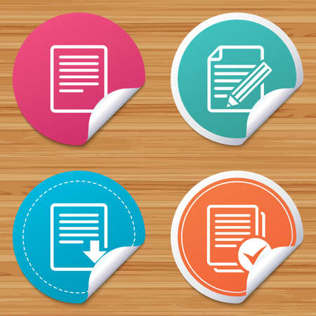 bended: Round stickers or website banners. File document icons. Download file symbol. Edit content with pencil sign. Select file with checkbox. Circle badges with bended corner. Vector