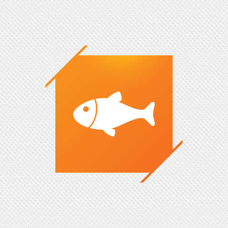 Fish sign icon. Fishing symbol. Orange square label on pattern. Vector Illustration