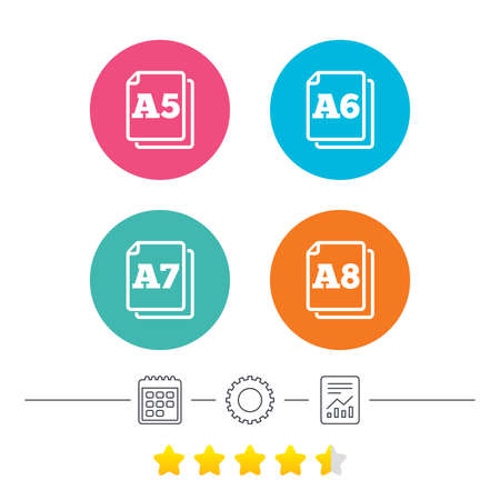 a6: Paper size standard icons. Document symbols. A5, A6, A7 and A8 page signs. Calendar, cogwheel and report linear icons. Star vote ranking. Vector