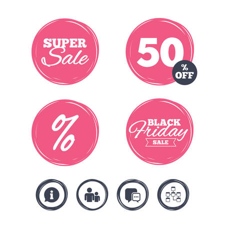 relational: Super sale and black friday stickers. Information sign. Group of people and database symbols. Chat speech bubbles sign. Communication icons. Shopping labels. Vector