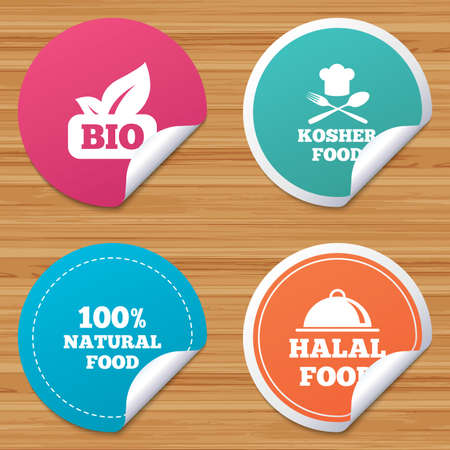 bended: Round stickers or website banners. 100% Natural Bio food icons. Halal and Kosher signs. Chief hat with fork and spoon symbol. Circle badges with bended corner. Vector