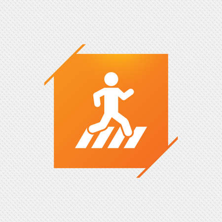 crossing street: Crosswalk icon. Crossing street sign. Orange square label on pattern. Vector