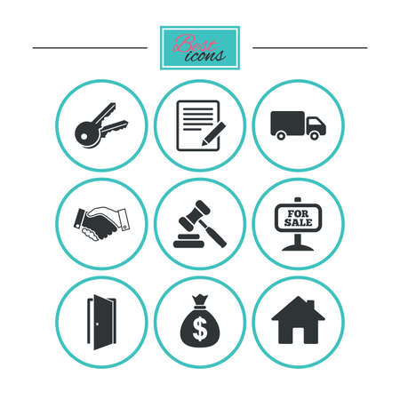 car for sale: Real estate, auction icons. Handshake, for sale and money bag signs. Keys, delivery truck and door symbols. Round flat buttons with icons. Vector Illustration