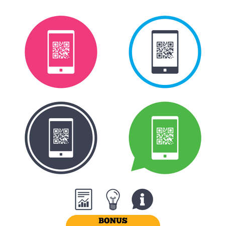 qrcode: Qr code sign icon. Scan code in smartphone symbol. Coded word - success! Report document, information sign and light bulb icons. Vector Illustration