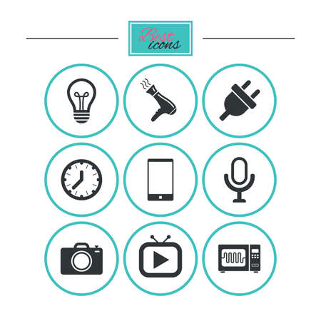 Home appliances, device icons. Electronics signs. Lamp, electrical plug and photo camera symbols. Round flat buttons with icons. Vector Illustration