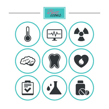 neurology: Medicine, medical health and diagnosis icons. Blood donate, thermometer and pills signs. Tooth, neurology symbols. Round flat buttons with icons. Vector