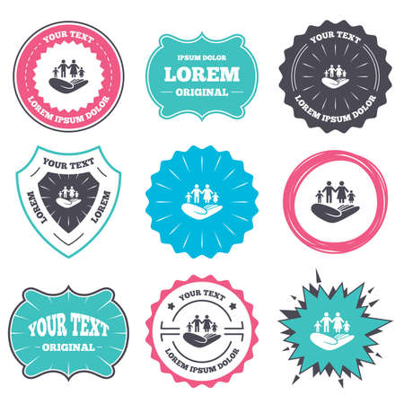 life style: Label and badge templates. Family life insurance sign. Hand holds human group symbol. Health insurance. Retro style banners, emblems. Vector Illustration