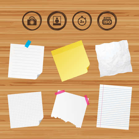 seconds: Business paper banners with notes. Photo camera icon. Flash light and Auto ISO symbols. Stopwatch timer 2 seconds sign. Human portrait photo frame. Sticky colorful tape. Vector