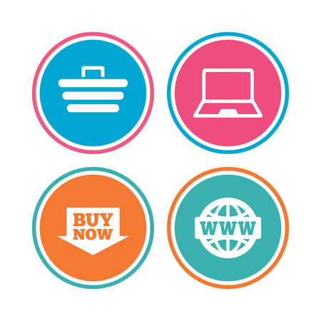 ultrabook: Online shopping icons. Notebook pc, shopping cart, buy now arrow and internet signs. WWW globe symbol. Colored circle buttons. Vector
