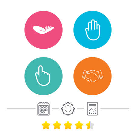 vote here: Hand icons. Handshake successful business symbol. Click here press sign. Human helping donation hand. Calendar, cogwheel and report linear icons. Star vote ranking. Vector