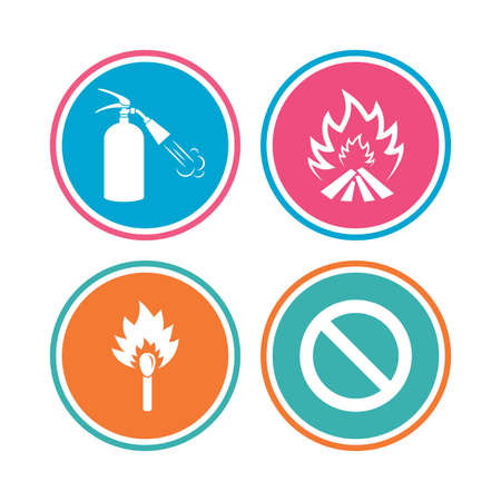 fire extinguisher sign: Fire flame icons. Fire extinguisher sign. Prohibition stop symbol. Burning matchstick. Colored circle buttons. Vector
